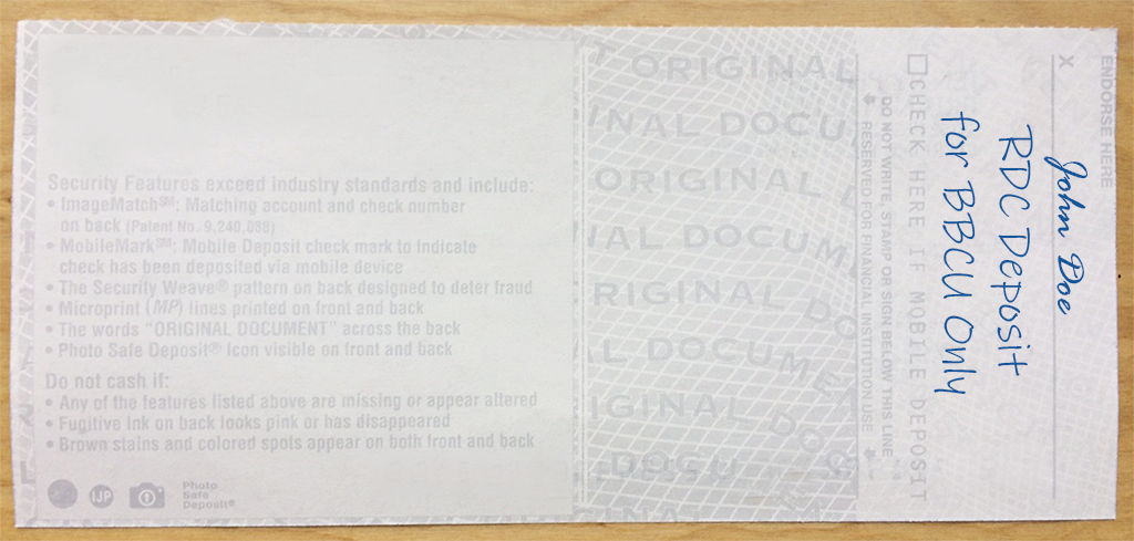 RDC Back of Check sample